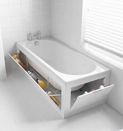 Image of clever storage next to a bath.